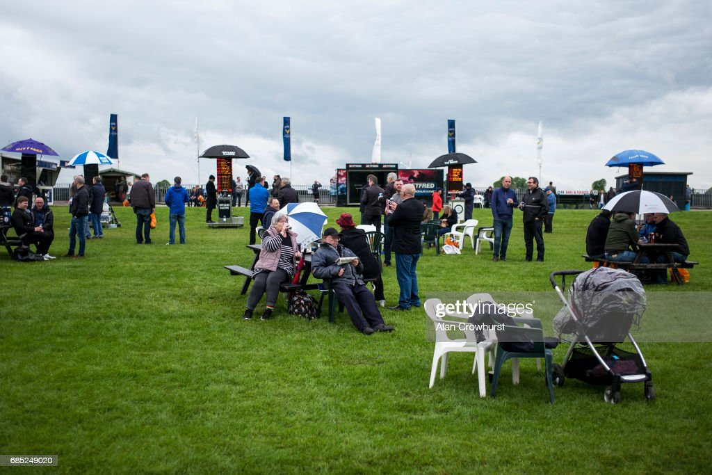 A general view as racegoers wait for the race to start at York racecourse on May 19, 2017 in York, England.