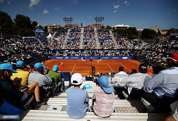 A general view as Rafael Nadal of Spain in action against Albert Ramos of Spain during day three of the ATP Barcelona Open Banc Sabadell at the Real...
