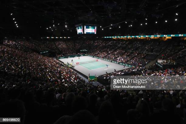 A general view as Rafael Nadal of Spain plays his match against Pablo Cuevas of Uraguay during Day 4 of the Rolex Paris Masters held at the...