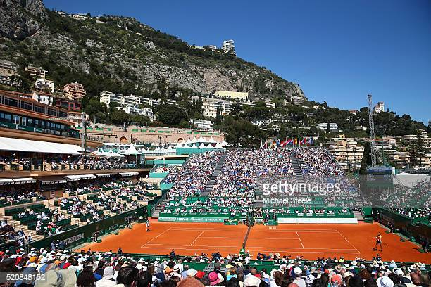 A general view as Rafael Nadal of Spain takes on Aljaz Bedene of Great Britain during their second round match on day four of the Monte Carlo Rolex...