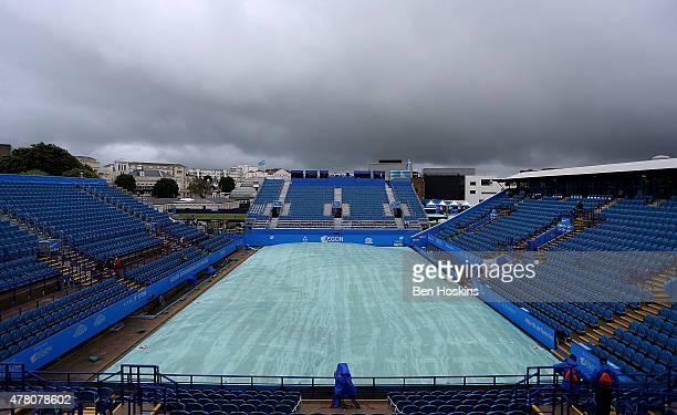 A general view as rain delays play on Day Two of the Aegon International at Devonshire Park on June 22 2015 in Eastbourne England