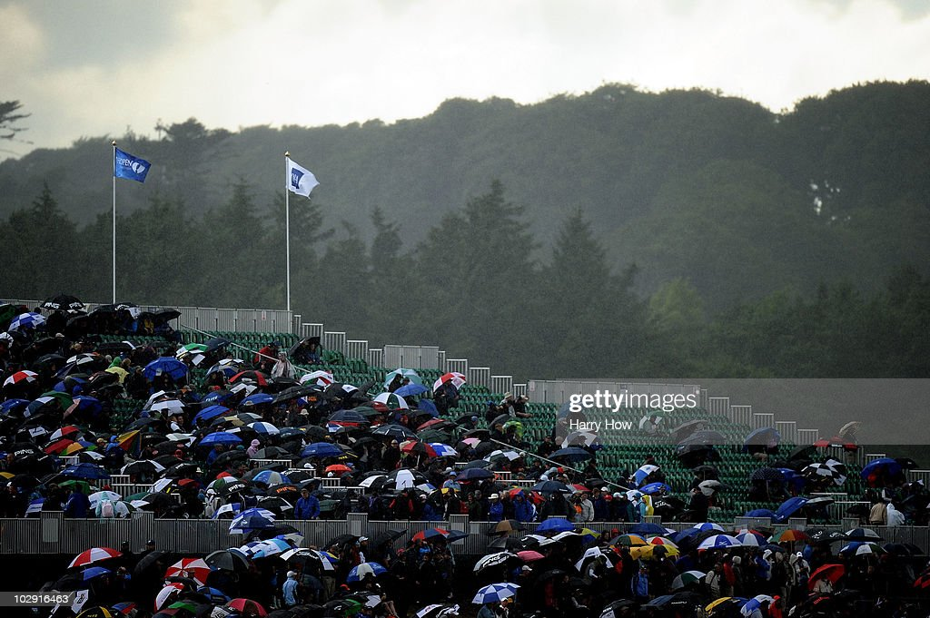General View as rain falls during the first round of the 139th Open Championship on the Old Course St Andrews on July 15 2010 in St Andrews Scotland