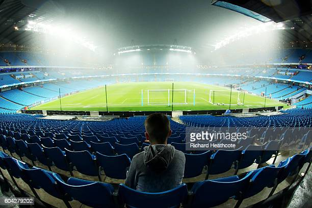 A general view as rain falls prior to the UEFA Champions League Group A match between Manchester City FC and VfL Borussia Moenchengladbach at Etihad...