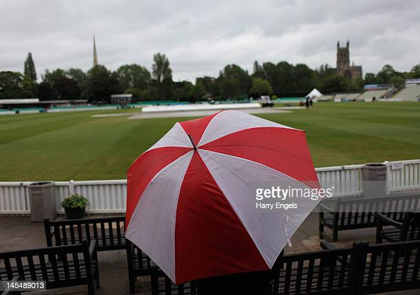 A general view as rain stops play during day two of the LV County Championship Division One match between Worcestershire and Somerset at New Road on...