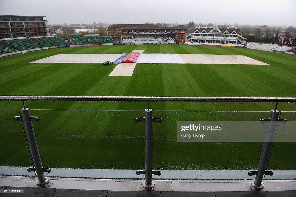 General view as rain stops play during Day Two of the Specsavers County Championship Division One match between Somerset and Lancashire at the County Ground on May 02, 2016 in Taunton, United Kingdom.
