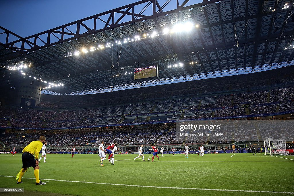 General View as Real Madrid attack during the UEFA Champions League final match between Real Madrid and Club Atletico de Madrid at Stadio Giuseppe Meazza on May 28, 2016 in Milan, Italy.