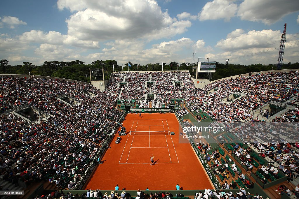 A general view as Richard Gasquet of France serves during the Men's Singles second round match against Bjorn Fratangelo of the United States on day four of the 2016 French Open at Roland Garros on May 25, 2016 in Paris, France.