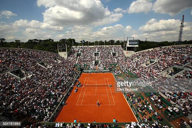 A general view as Richard Gasquet of France serves during the Men's Singles second round match against Bjorn Fratangelo of the United States on day...