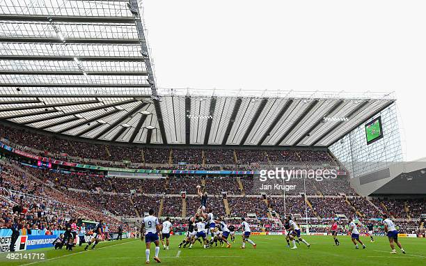 A general view as Richie Gray of Scotland claims a lineout during the 2015 Rugby World Cup Pool B match between Samoa and Scotland at St James' Park...