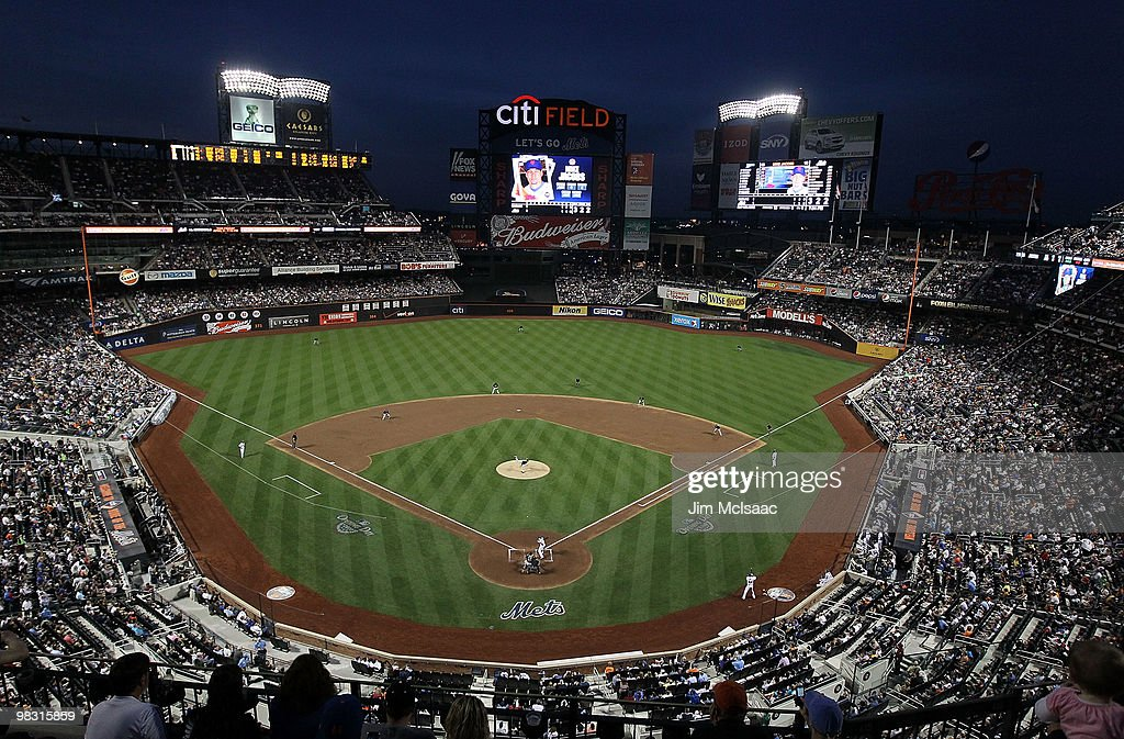 A general view as <a gi-track='captionPersonalityLinkClicked' href=/galleries/search?phrase=Ricky+Nolasco&family=editorial&specificpeople=600111 ng-click='$event.stopPropagation()'>Ricky Nolasco</a> #47 of the Florida Marlins delivers a pitch against Mike Jacobs #35 of the New York Mets on April 7, 2010 at Citi Field in the Flushing neighborhood of the Queens borough of New York City.