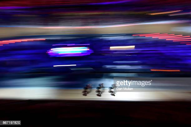 A general view as riders compete in the Women's 10km Scratch Race on day four of the London Six Day Race at the Lee Valley Velopark Velodrome on...