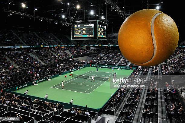 A general view as Robin Haase and Thiemo de Bakker of Netherlands play against Alex Bogomolov Jnr of Russia and Dick Norman of Belgium in the Doubles...