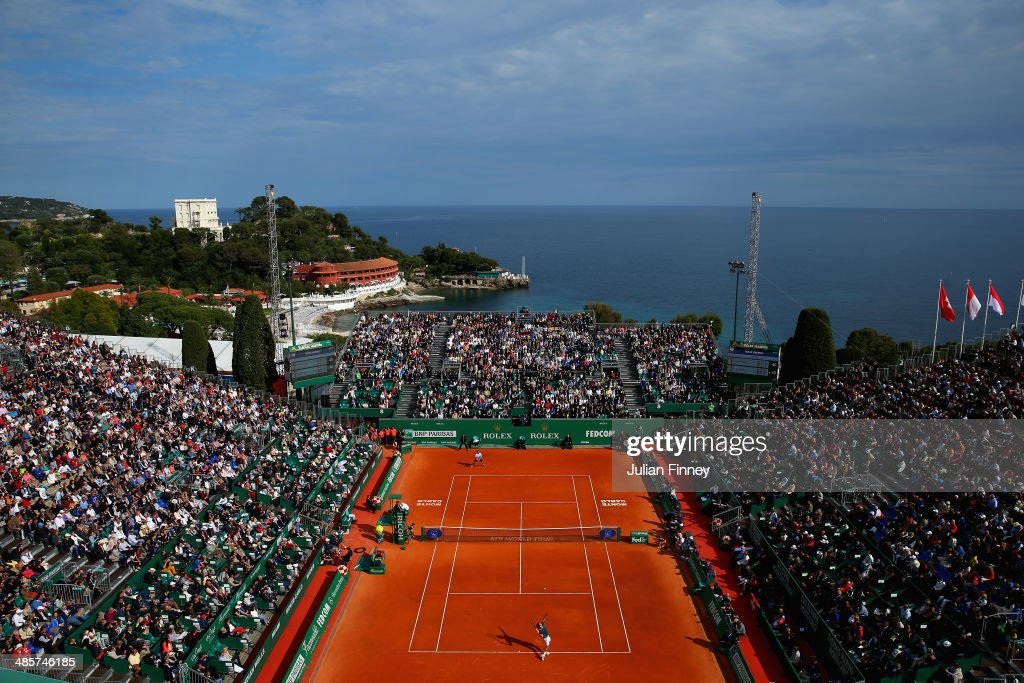 A general view as Roger Federer of Switzerland in action against Stanislas Wawrinka of Switzerland in the final during day eight of the ATP Monte...