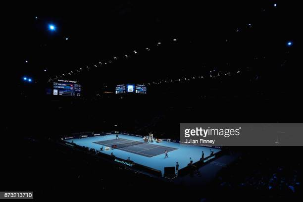 A general view as Roger Federer of Switzerland is in action in his match against Jack Sock of USA during day one of the Nitto ATP World Tour Finals...