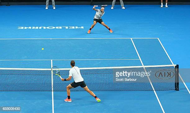 A general view as Roger Federer of Switzerland plays a shot in his Men's Final match against Rafael Nadal of Spain on day 14 of the 2017 Australian...
