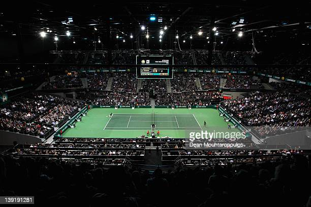 A general view as Roger Federer of Switzerland serves against Jarkko Nieminen of Finland on day 5 of the ABN AMRO World Tennis Tournament on February...