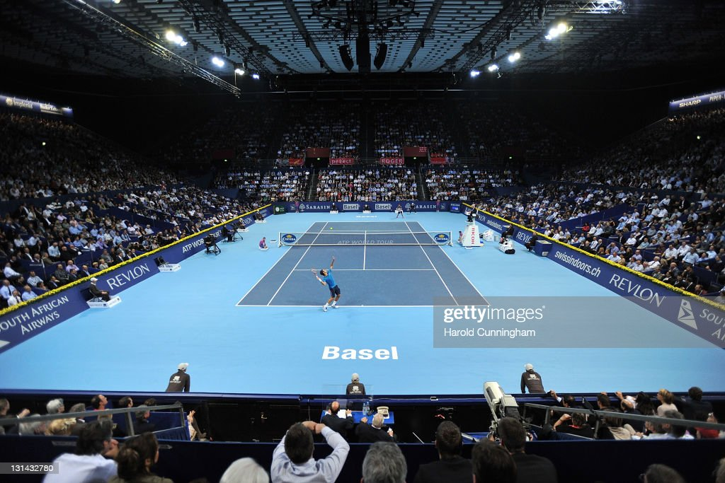 General view as Roger Federer of Switzerland serves during his quarterfinal match against Andy Roddick of the United States during day five of the...
