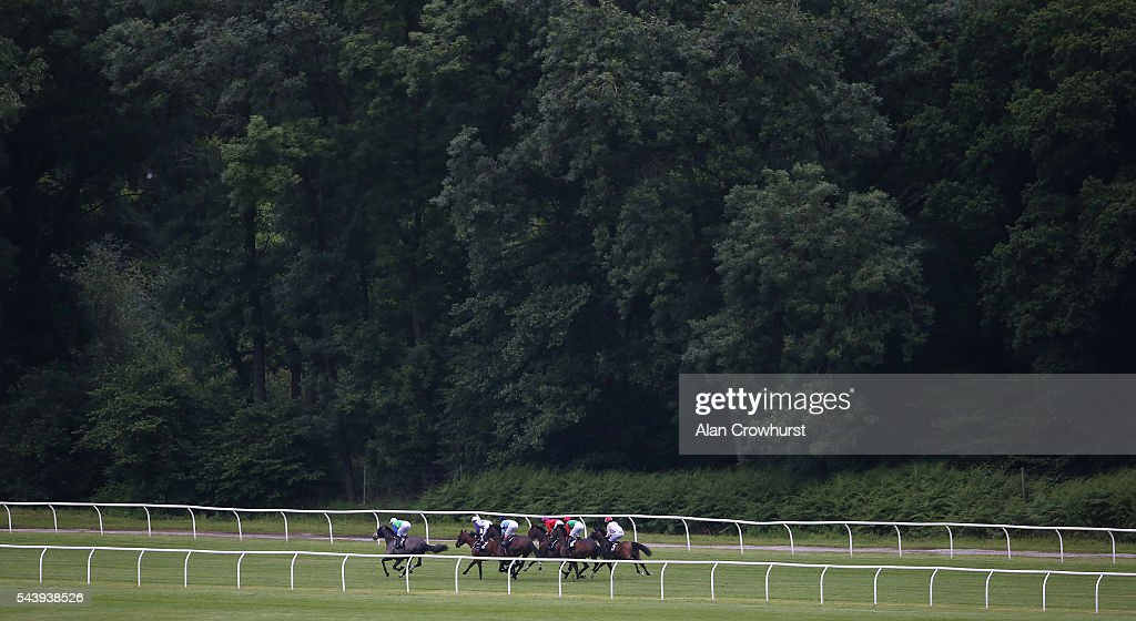 A general view as runers race down the back straight at Newbury racecourse on June 30, 2016 in Newbury, England.