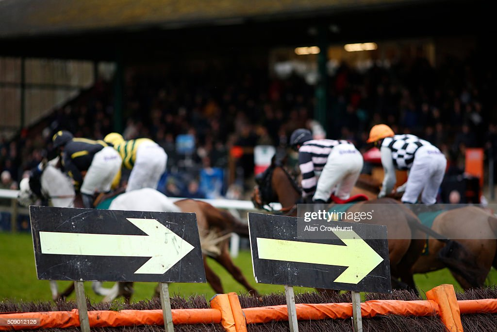 A general view as runner by-pass a hurdle at Fakenham racecourse on February 08, 2016 in Fakenham, England.