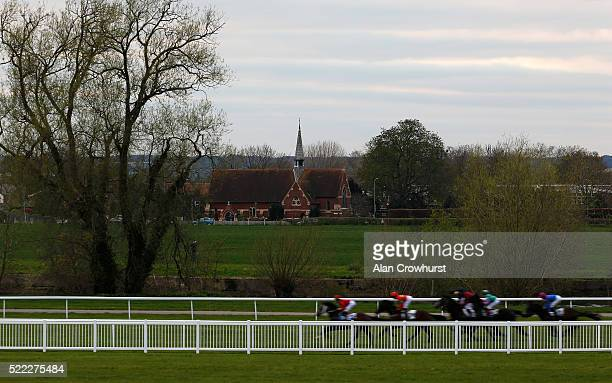 A general view as runner race down the back straight at Windsor Racecourse on April 18 2016 in Windsor England