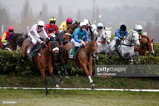 A general view as runners clear a fence in The Glenfarclas Handicap Steeple Chase at Cheltenham racecourse on March 11 2015 in Cheltenham England