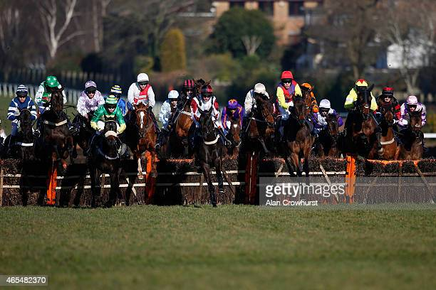 A general view as runners clear a flight of hurdles at Sandown racecourse on March 07 2015 in Esher England