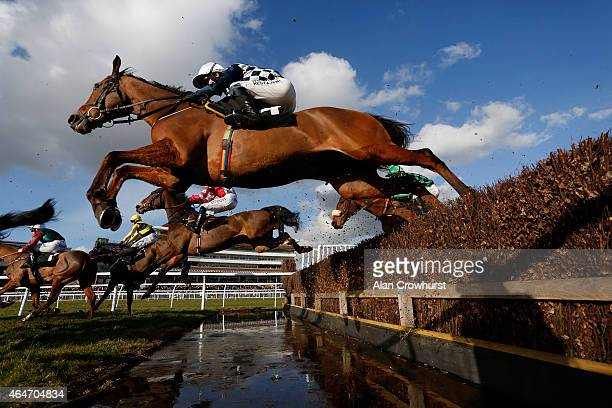 A general view as runners clear the water jump in The Agetur UK Novices' Limited Handicap Chase at Newbury racecourse on February 27 2015 in Newbury...