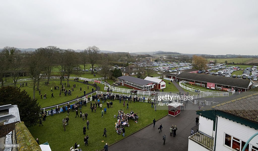 General view as runners leave the parade ring during the last meeting to be held after 114 years of racing at Folkestone racecourse on December 18, 2012 in Folkestone, England.