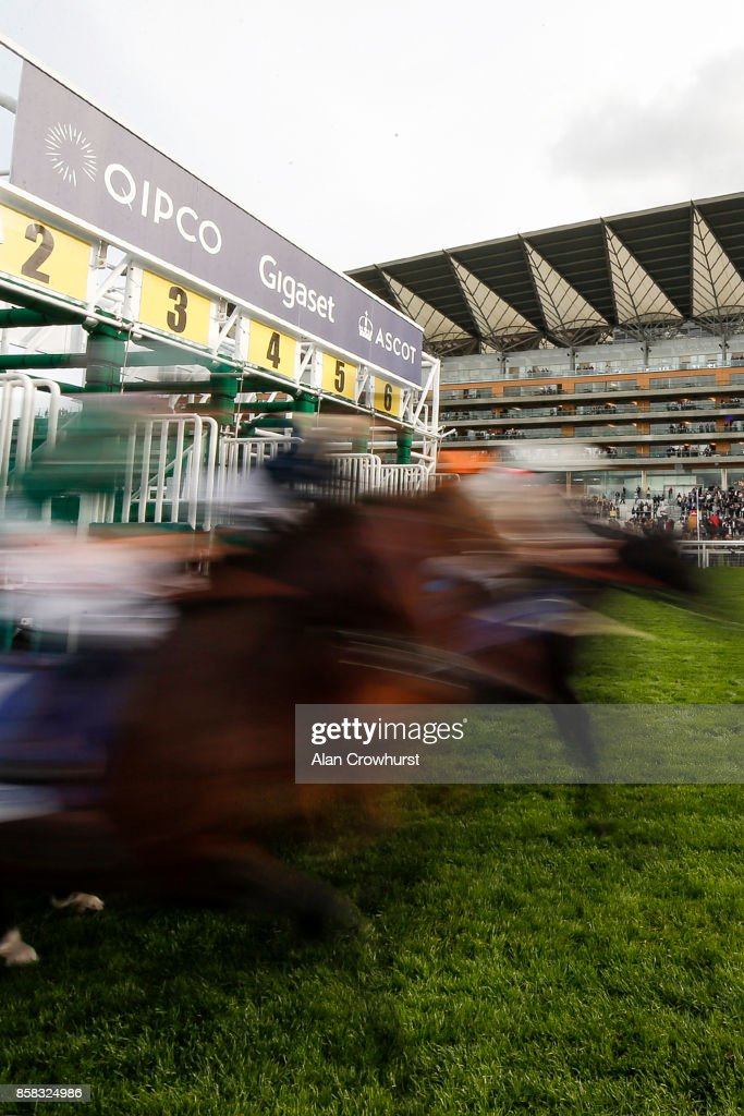 A general view as runners leave the stalls at Ascot racecourse on October 6, 2017 in Ascot, United Kingdom.