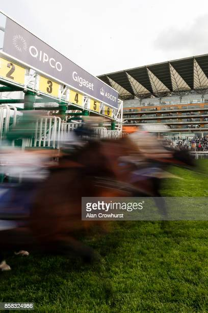 A general view as runners leave the stalls at Ascot racecourse on October 6 2017 in Ascot United Kingdom