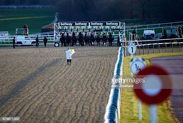 A general view as runners leave the stalls at Lingfield Park on December14 2016 in Lingfield England