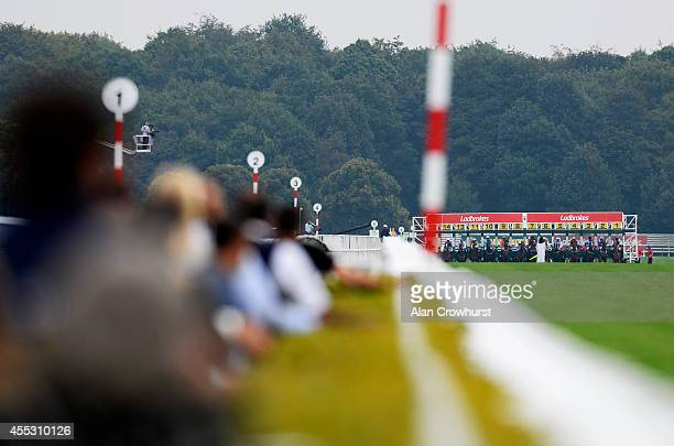 A general view as runners leave the stalls from the five furlong start at Doncaster racecourse on September 12 2014 in Doncaster England