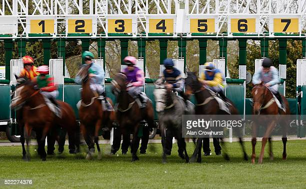 A general view as runners leave the starting stalls at Windsor Racecourse on April 18 2016 in Windsor England