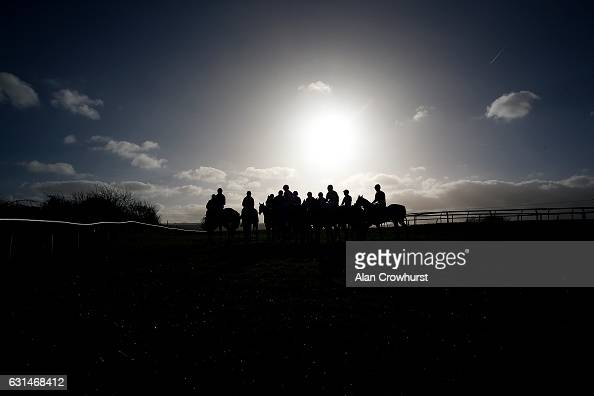 A general view as runners line up for the start at the start at Taunton Racecourse on January 11 2017 in Taunton England