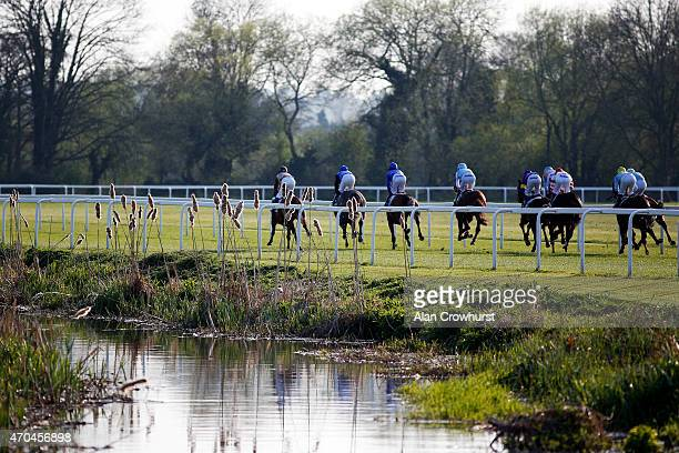 A general view as runners make their way at Windsor racecourse on April 20 2015 in Windsor England