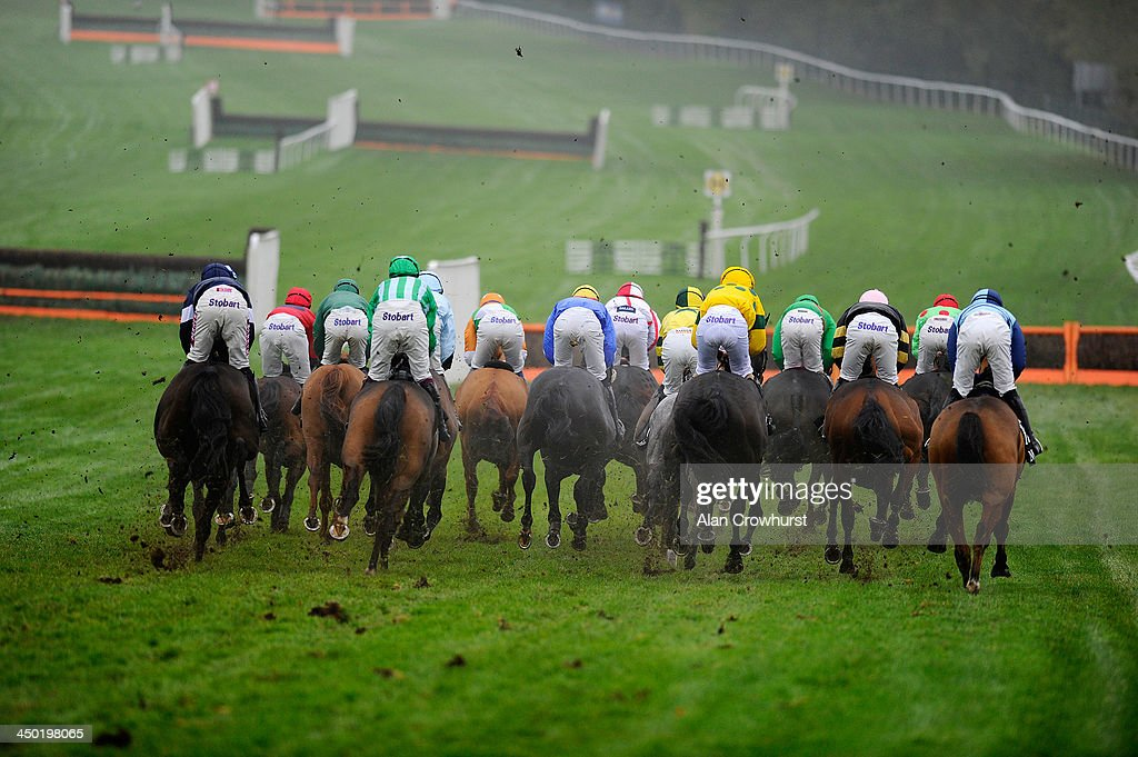 A general view as runners make their way down the back straight at Cheltenham racecourse on November 17, 2013 in Cheltenham, England.