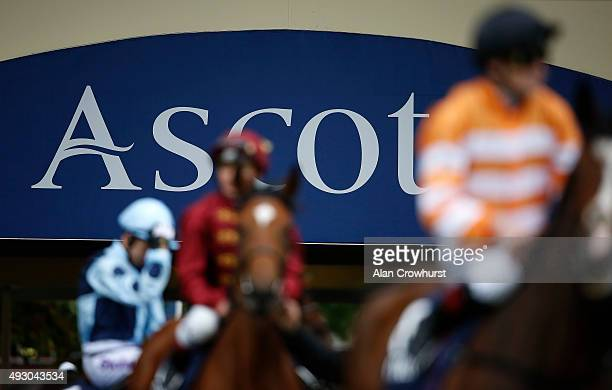 A general view as runners make their way onto the track at Ascot racecourse on October 17 2015 in Ascot England