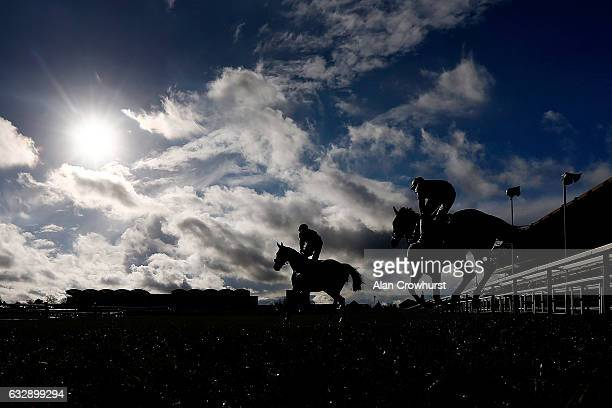 A general view as runners make their way to the start at Cheltenham Racecourse on January 28 2017 in Cheltenham England