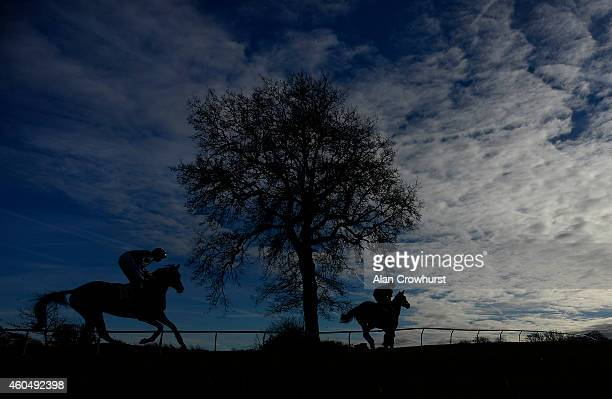 A general view as runners make their way to the start at Plumpton racecourse on December 15 2014 in Plumpton England