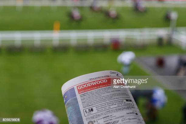 A general view as runners make their way to the start on day two of the Qatar Goodwood Festival at Goodwood racecourse on August 2 2017 in Chichester...