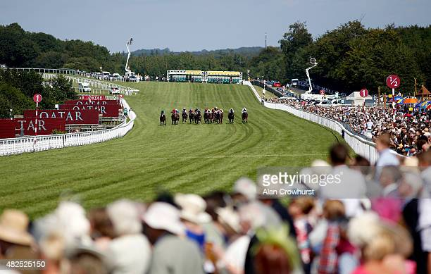 A general view as runners near the finish at Goodwood racecourse on July 31 2015 in Chichester England