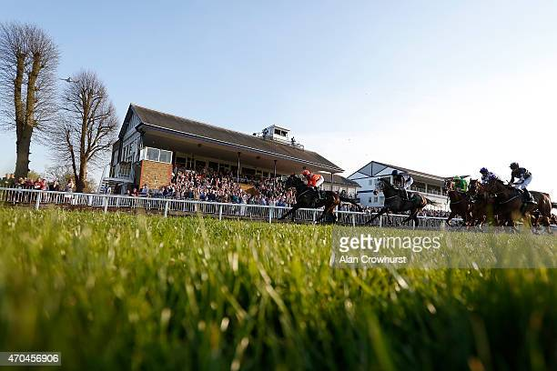 A general view as runners pass the grandstands at Windsor racecourse on April 20 2015 in Windsor England