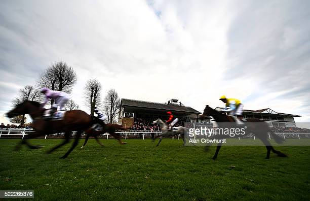 A general view as runners pass the grandstands at Windsor Racecourse on April 18 2016 in Windsor England