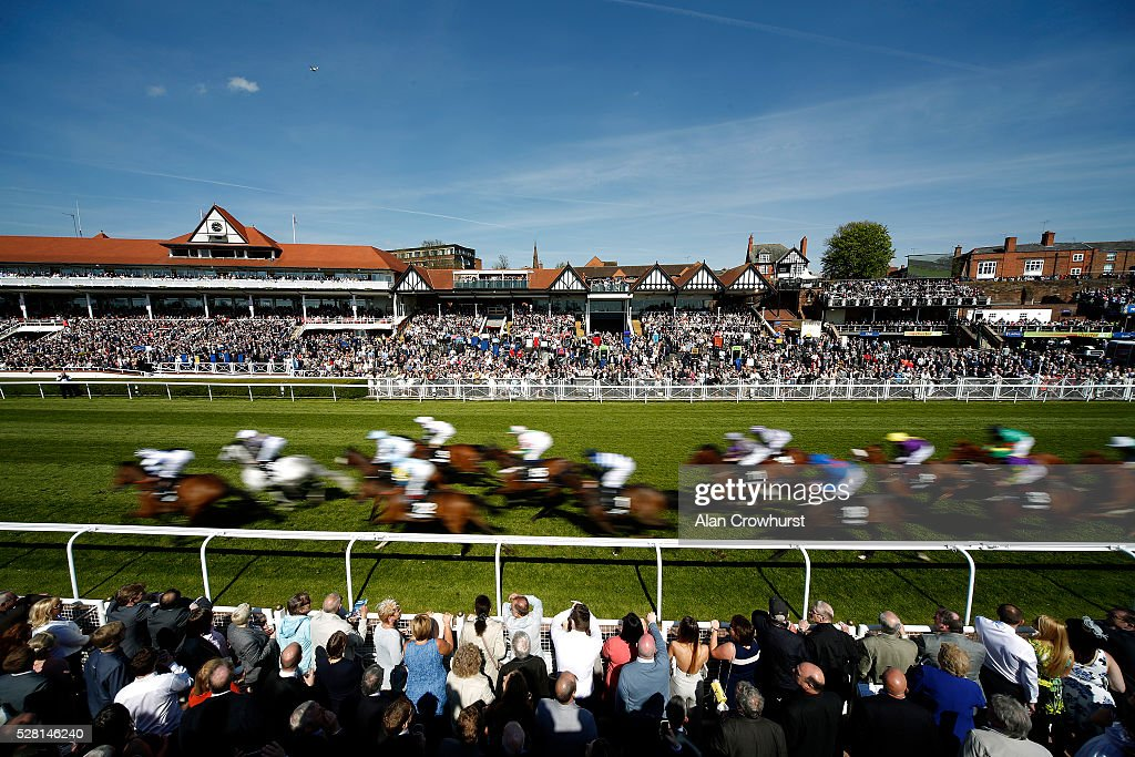 A general view as runners pass the grandstands in The Betway Chester Cup with a circuit to go at Chester racecourse on May 4, 2016 in Chester, England.