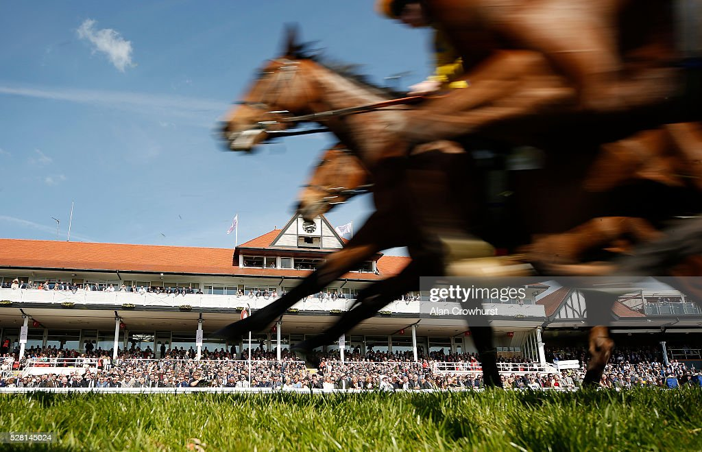 A general view as runners pass the grandstands on thei first circuit at Chester racecourse on May 4, 2016 in Chester, England.