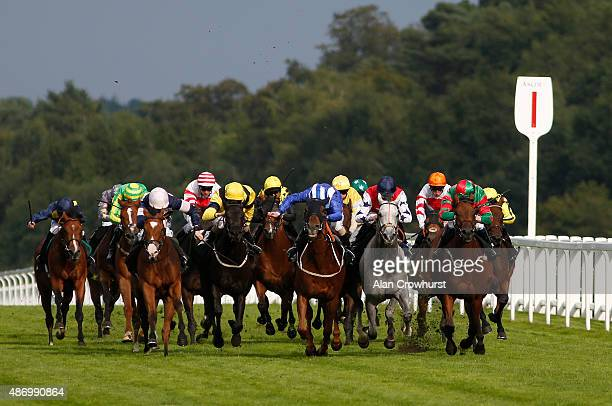 A general view as runners pass the one furlong marker at Ascot racecourse on September 05 2015 in Ascot England