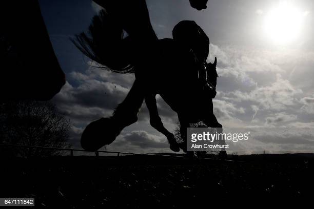 A general view as runners race down the back straight at Taunton Racecourse on March 02 2017 in Taunton England