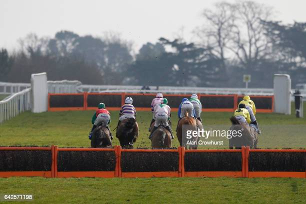 A general view as runners race down the side of he track at Ascot Racecourse on February 18 2017 in Ascot England