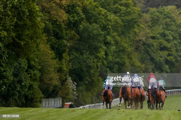 A general view as runners race down the side of the track at Ascot Racecourse on May 13 2017 in Ascot England