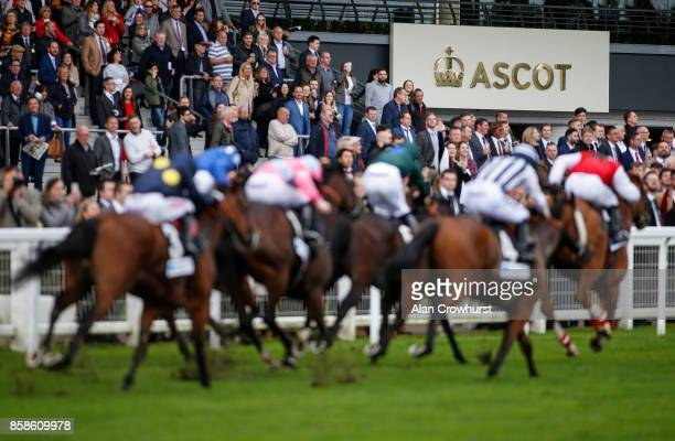 A general view as runners race towards the finish at Ascot racecourse on October 7 2017 in Ascot United Kingdom